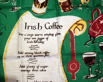 Vintage Tea Towel 50s IRELAND Orish Coffee Irish Whiskey Clovers Cow Coffee Bottles