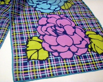 Vintage Mod Floral Scarf in Turquoise Lime Green purple and Blue: Mint Condition Semi-Sheer Plaid and Roses