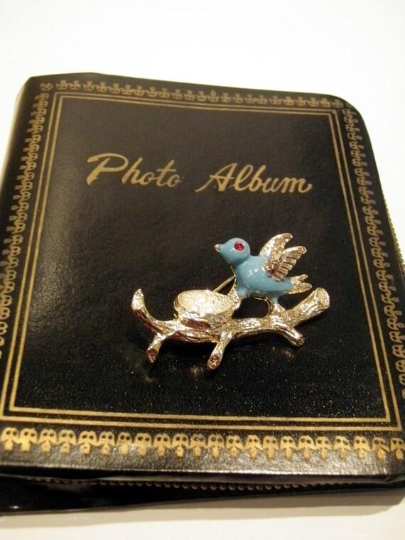 Vintage Brooch 1950s Blue Bird Pin by Gerry's Jewelry Looks Unworn Blue Gold pearl Eggs Nest Red Rhinestone Vintage Jewelry