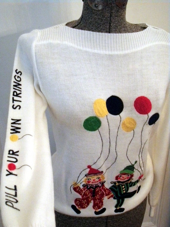 Vintage 70s Sweater with Kitsch Clowns and Balloons  It Says Pull Your Own Strings