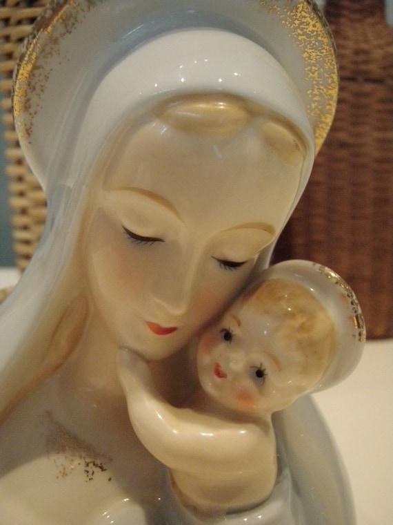 Vintage Head Vase Planter Madonna And Jesus Shafford Japan