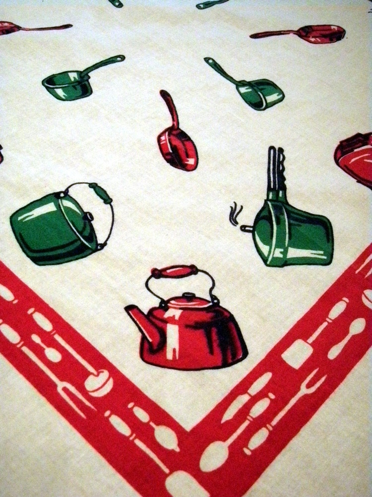 Vintage Startex Kitchen Towel Retro Kitchen Iconography With