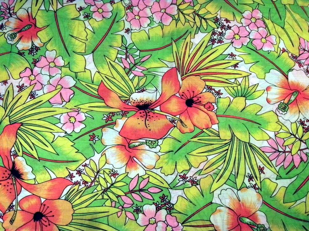 Christmas wedding dresses with snowflakes - Vintage Neon Tropical Fabric Retro Hawaiian Fabric Cotton
