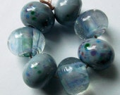 7 Monet Frit on Gray And Clear Lampwork Beads SRAF34