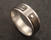 RESERVED LISTING - Narrow the Gap Ring: a ring in sterling silver with hammered lines textured titanium