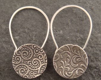 Cupped Sterling Silver Padlock Earrings
