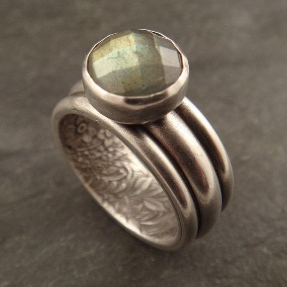 Statement Ring, Handmade Womens Ring, Secret Garden, Green Blue Labradorite Ring, Wide Band, Woman's Ring, Women's Sterling Silver Ring