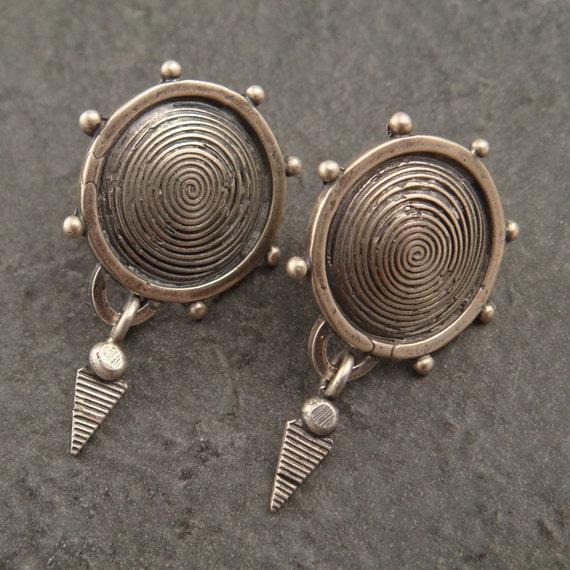Sterling Pinwheel Earrings with Dangle