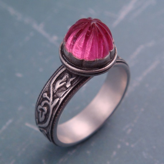 Carved Pink Tourmaline Ring-- RESERVED for beeczarcardsandgifts