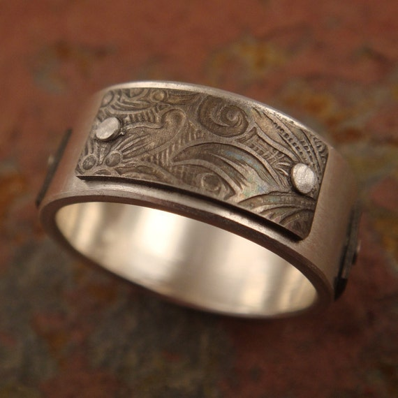 Silver Ring with Sunflower Patterned Titanium Panels