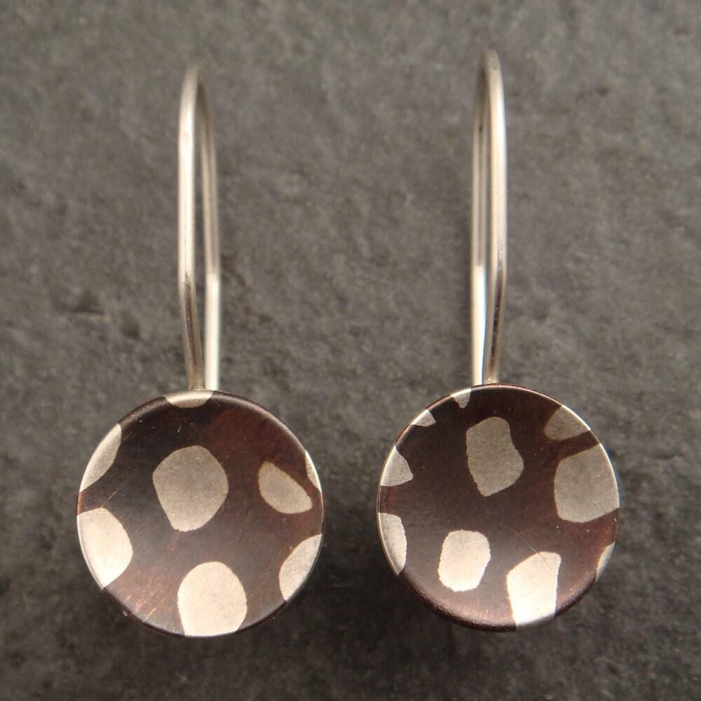 Mokume Gane Earrings: Spotted Mokume Gane Earrings