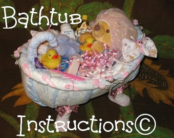 Learn 2 make a BATHTUB from DIAPERS. Tutorial. Fill it up with bathtime goodies. GR8 baby keepsake, gift.