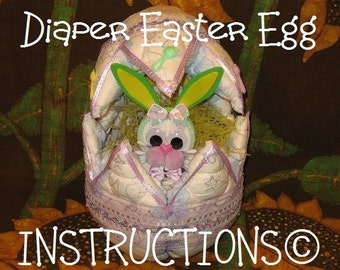 Make an EASTER EGG from DIAPERS. Instructions. Baby's 1st Easter. How to make diaper cake topper Easter egg