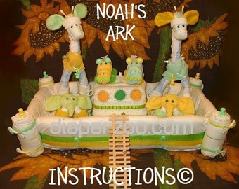 NOAH'S ARK Diaper Cake Instructions. Learn to make from baby items. It's MIRACULOUS