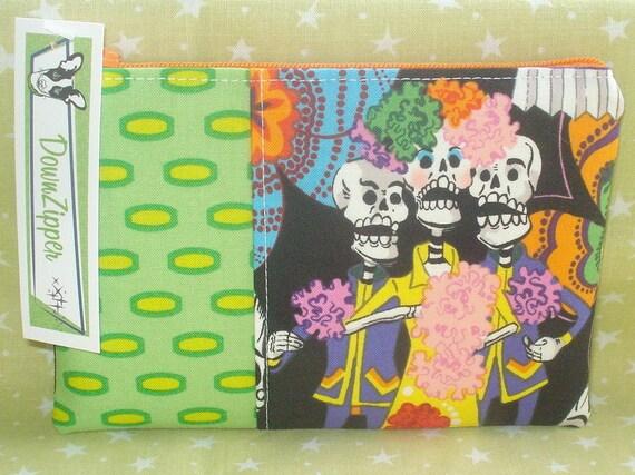 Singing Skeleton Trio - Fabric Zipper Wallet Pouch