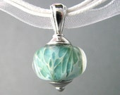 Lampwork Glass Necklace Light Turquoise Green