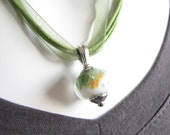 White and Shimmer Green Boro Bead Necklace - Lampwork Bead Necklace