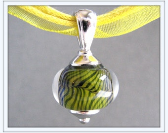 Lemon Yellow and Navy Blue Spiral Lampwork Necklace