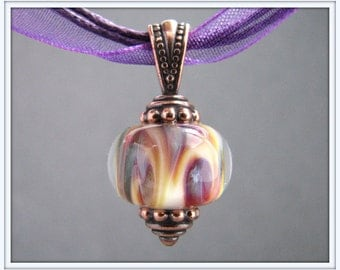 Purple Swirl Lampwork Necklace - White, Purple and Copper