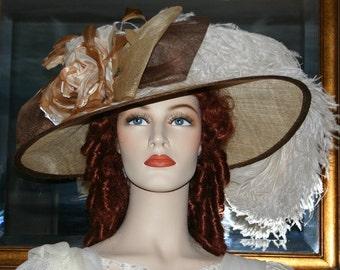 Kentucky Derby Hat Edwardian Ascot Hat Downton Abbey Hat Titanic Church Hat - Spirit of Barbaro - Wide Brim Hat Womens