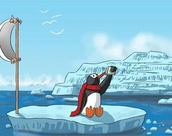 Penguin Art Print, 11x17 Original From the Artist