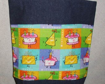 New Large Handmade Happy Birthday Denim Tote Bag