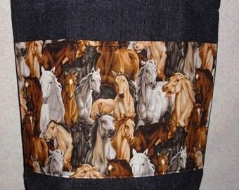 New Large Handmade Horse Farm Pet Country Denim Tote Bag