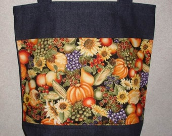 New Large Handmade Harvest Fall Veggies Pumpkin Fruits Denim Tote Bag