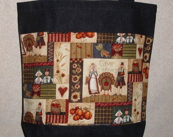 New Large Handmade Denim Tote Bag Thanksgiving Give Thanks Theme