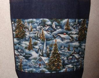 New Handmade Medium Christmas Snow Village Denim Tote Bag
