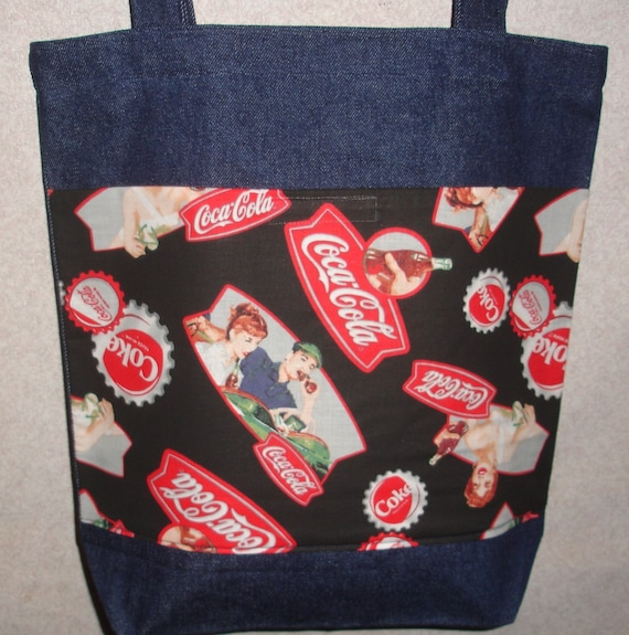 New Large Denim Tote Bag Handmade with Old Time Coca Cola Coke Fabric