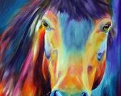 Horse oil painting Giclee print 8x10 on canvas Doris Joa Artstudio