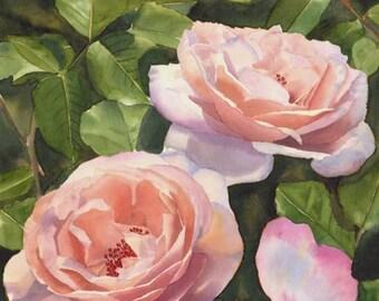 Rose Renaissance Watercolor Painting Print