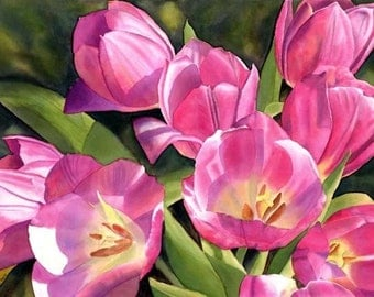 Tulips Watercolor Painting Print