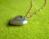 Sterling Silver Locket w coral and turquoise