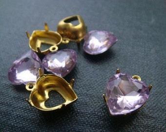 Light Amethyst Hearts 11mm Vintage Acrylic Jewels - 4pcs w/setting - Purple Heart Charms, Heart Shaped Rhinestone, Amethyst Heart Pendant
