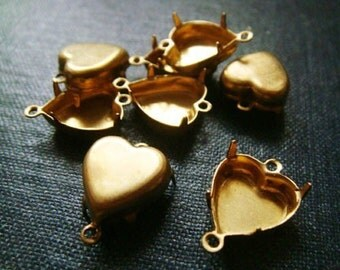 12x11mm Heart Double Loop Brass Rhinestone Prong Settings - LAST 25pcs - Heart Settings, Heart Connectors, Raw Brass, Heart Shaped Settings
