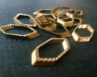 Elongated Hexagons 12mm - Raw Brass - 12 pieces - Brass Hexagon, Hexagon Connector, Hexagon Link, Geometric