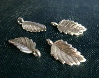 Jagged Hill Tribe Sterling Silver Curled Leaf Charms - 4pcs