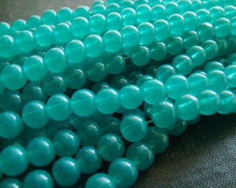 2for1 CLEARANCE - 6mm Translucent Turquoise Azure Smooth Round Glass Beads - 72pcs - NOW 144pcs - 6mm Turquoise Beads, Teal Glass Bead