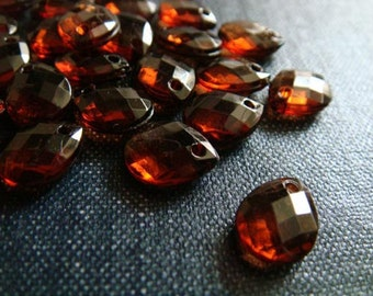 CLOSEOUT - 10x8mm Faceted Acrylic Teardrop Beads - Cognac - Brown Faceted Teardrop Bead, Acrylic Briolette Bead, Faceted Pear Bead