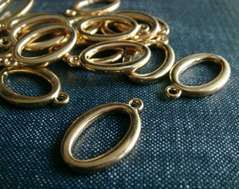 DESTASH - Modern Cast Pewter Oval Drop Charms - Bright Gold - 32pcs