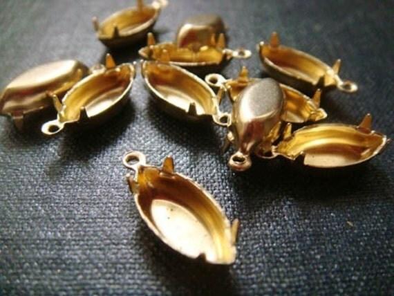 15x7mm Navette Single-Loop Brass Rhinestone Prong Settings - 24pcs - Navette Charm Marquis Prong Setting Glass Jewel Setting Navette Prong