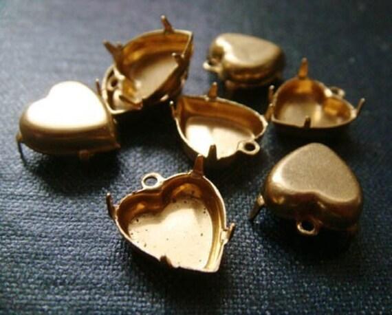 12x11mm Heart Single Loop Brass Rhinestone Prong Settings - 26pcs LAST LOT - Heart Settings, Heart Shapped Settings, Heart Charm, Raw Brass