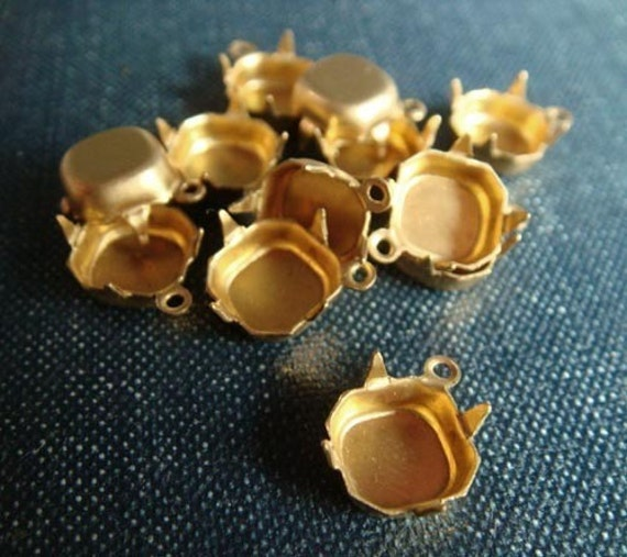 8x8mm Square Octagon Single-Loop Brass Rhinestone Prong Settings - 14pcs - LAST LOT