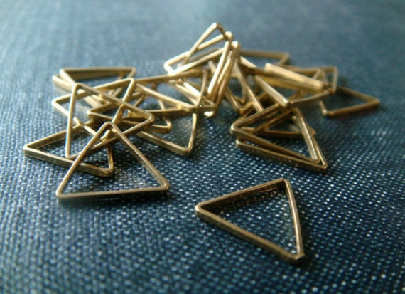 RESERVED for J - Equilateral Triangles 12mm - Raw Brass - 57pcs - LAST LOT