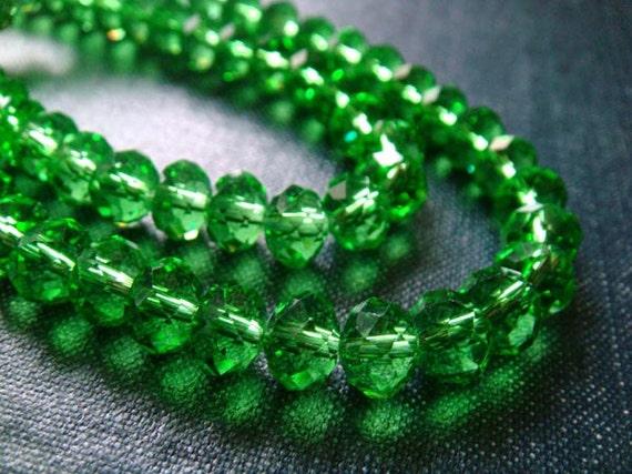 8mm Faceted Glass Rondelle Beads - Grass Green - Full Strand
