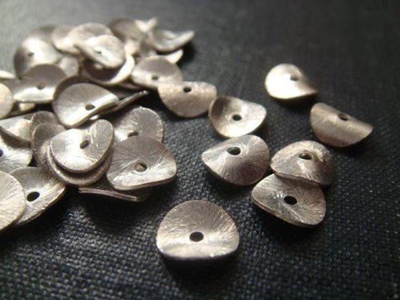 8mm Sterling Silver Wavy Disc Spacer Beads 50pcs