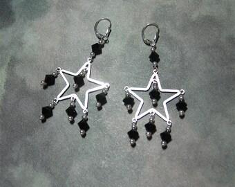 Super Star - Jet Swarovski Crystal Star Chandelier Earrings
