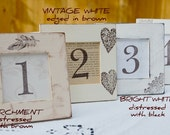 Set of 10 WEDDING TABLE NUMBERS Rustic, Vintage, Scroll, Vintage White, Bridal Shower, Distressed, Shabby Chic